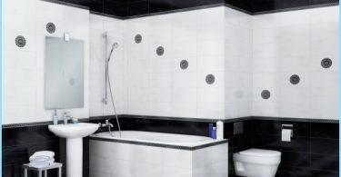 Juodos ir baltos spalvos vonios dizainas