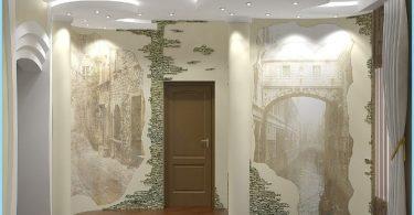 Dizainas ir apdaila prieškambaris su dekoratyviniu akmeniu